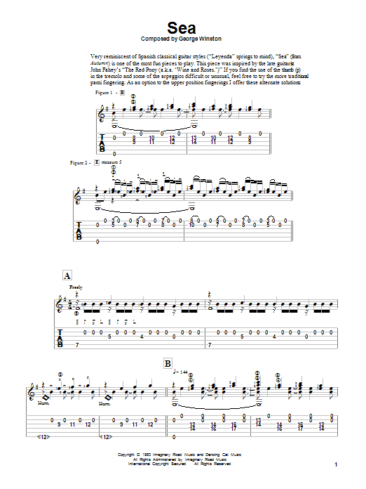 Download George Winston 'Sea' Digital Sheet Music Notes & Chords and start playing in minutes