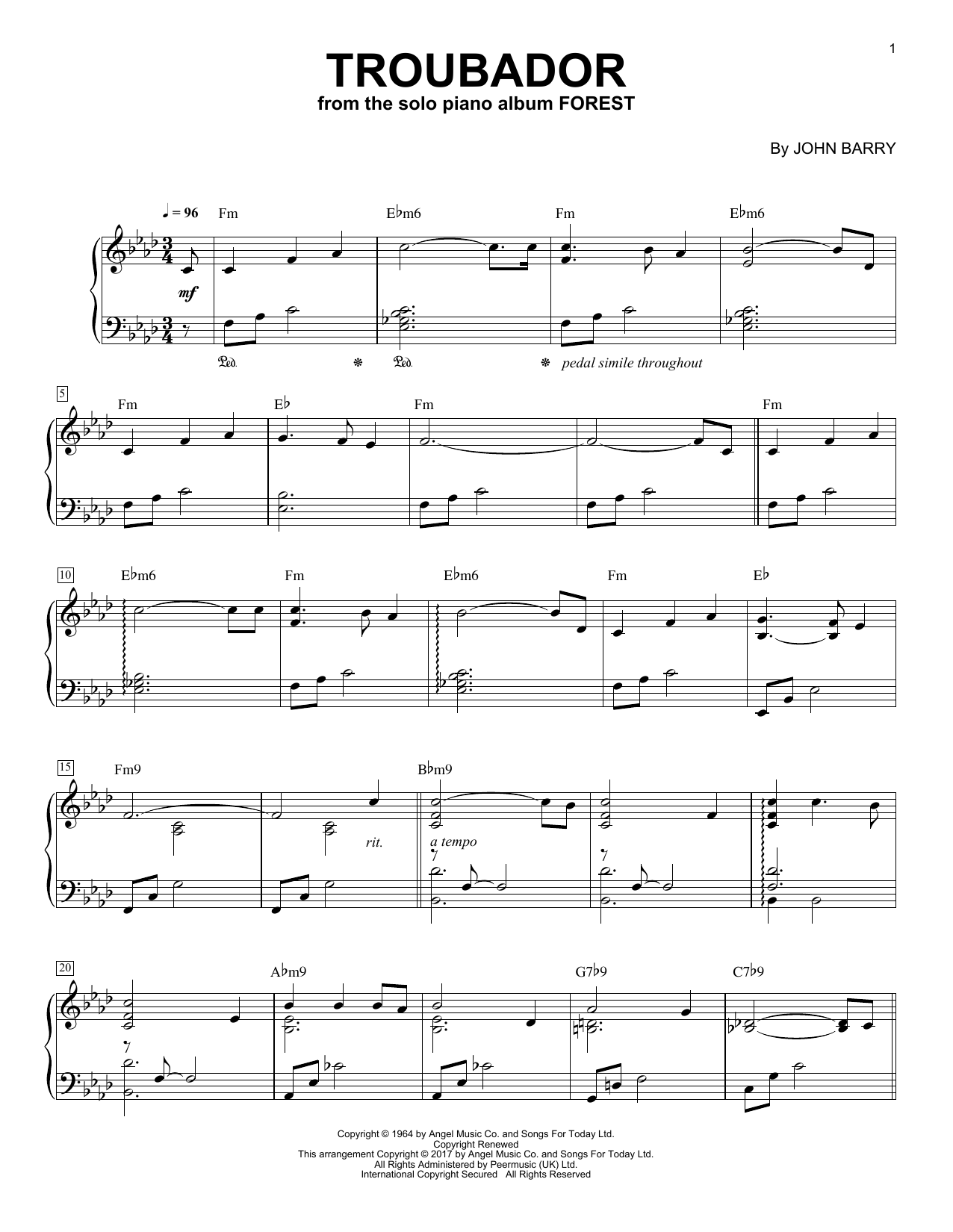 Download George Winston 'Troubadour' Digital Sheet Music Notes & Chords and start playing in minutes