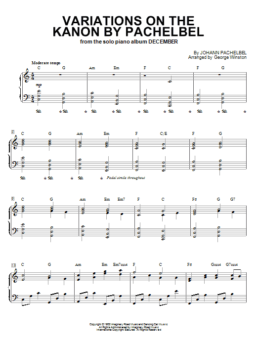 Download George Winston 'Variations On The Kanon By Pachelbel' Digital Sheet Music Notes & Chords and start playing in minutes
