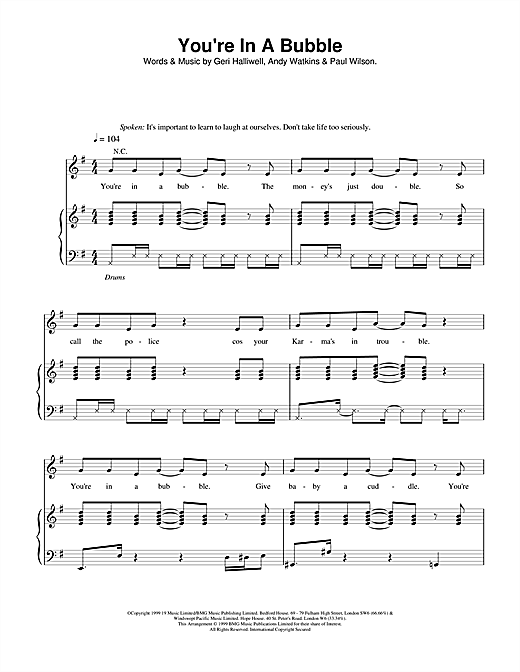 Geri Halliwell You're In A Bubble sheet music notes and chords