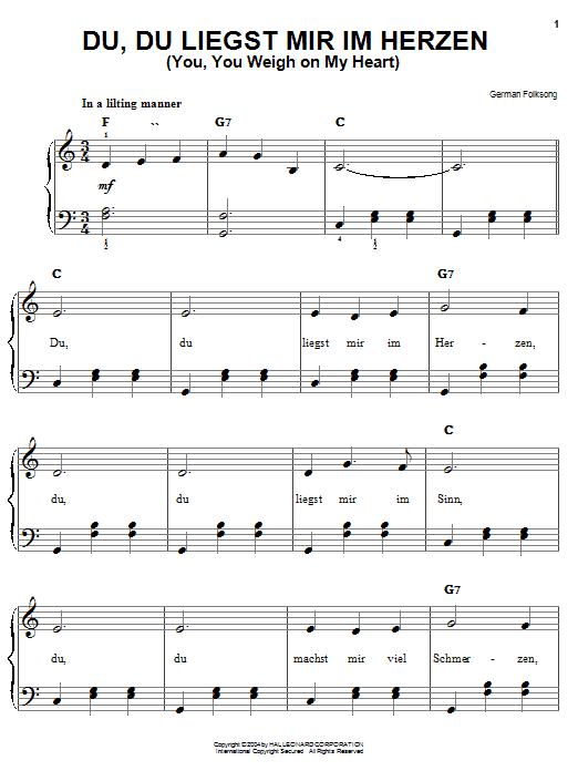Download German Folk Song 'Du, Du Liegst Mir Im Herzen (You, You Weigh On My Heart)' Digital Sheet Music Notes & Chords and start playing in minutes