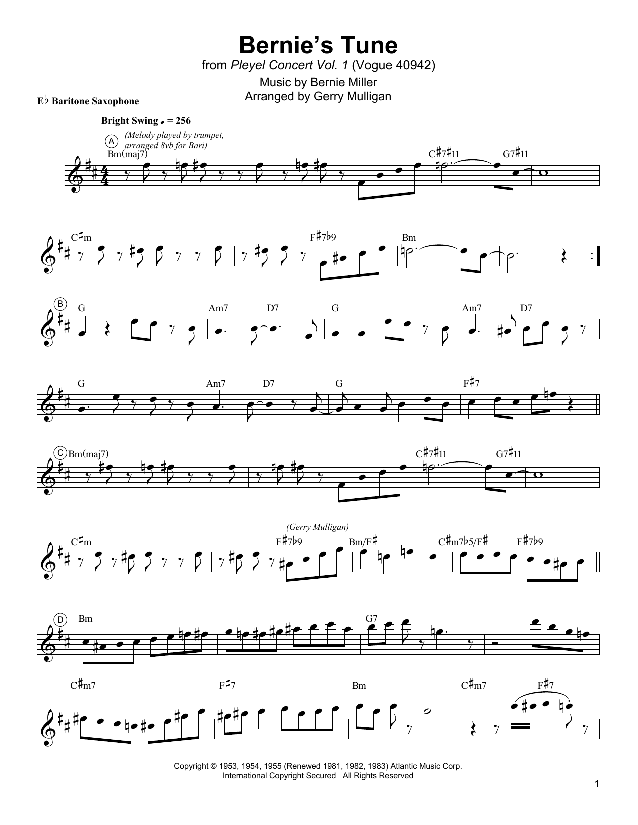 Download Gerry Mulligan 'Bernie's Tune' Digital Sheet Music Notes & Chords and start playing in minutes