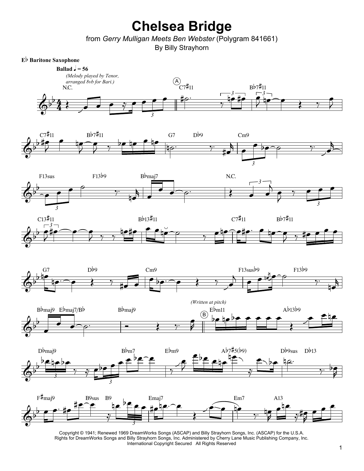Download Gerry Mulligan 'Chelsea Bridge' Digital Sheet Music Notes & Chords and start playing in minutes