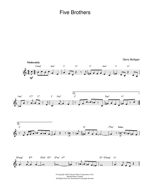 Download Gerry Mulligan 'Five Brothers' Digital Sheet Music Notes & Chords and start playing in minutes