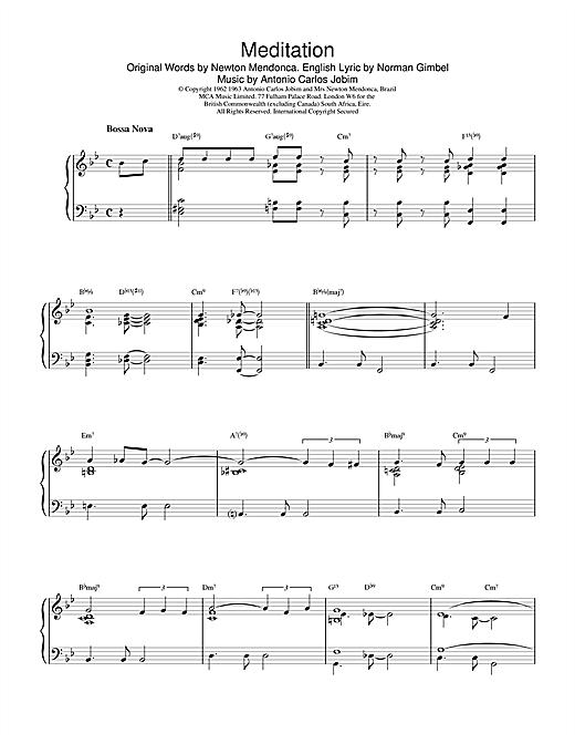 Gerry Mulligan Meditation sheet music notes and chords