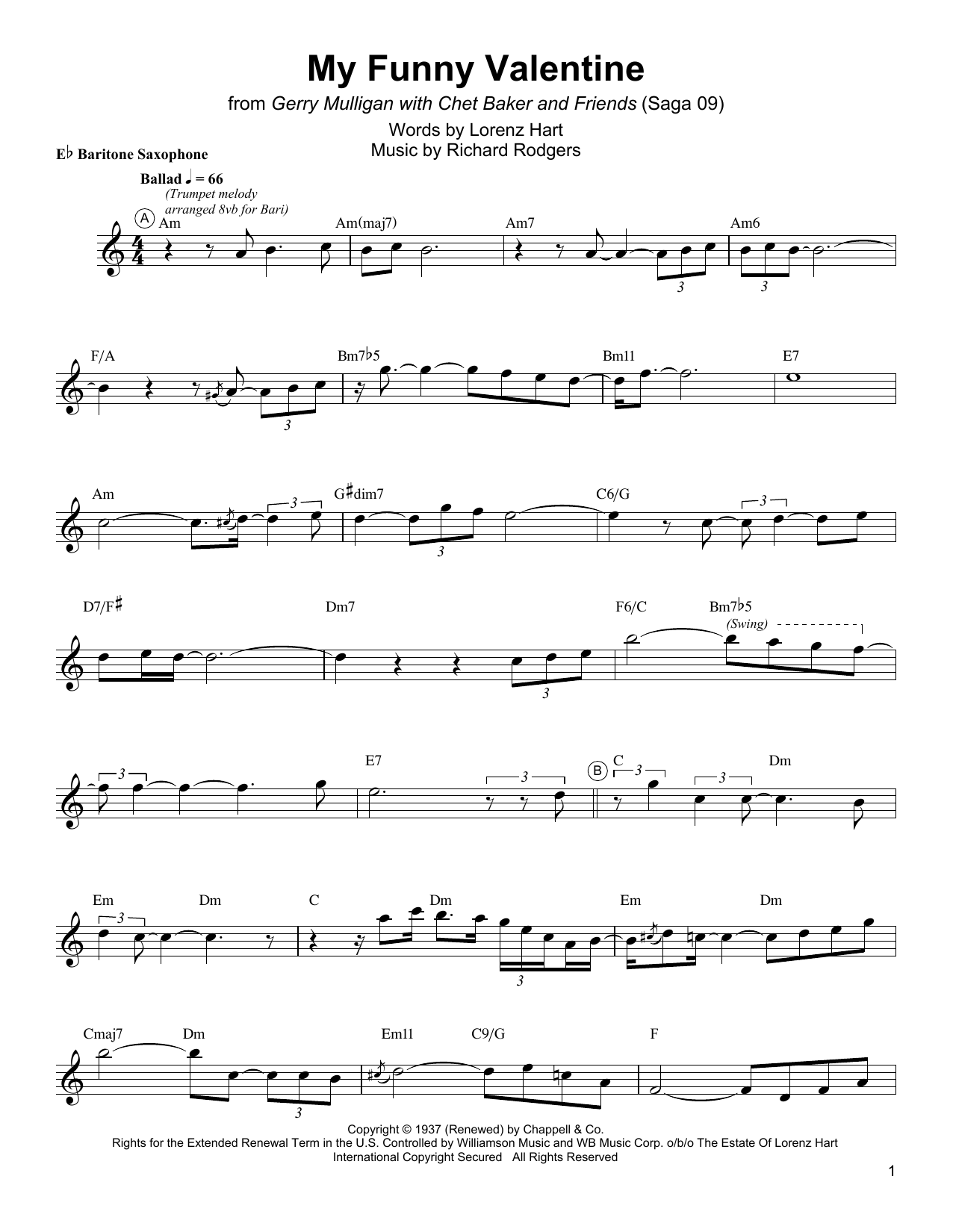 Download Gerry Mulligan 'My Funny Valentine' Digital Sheet Music Notes & Chords and start playing in minutes