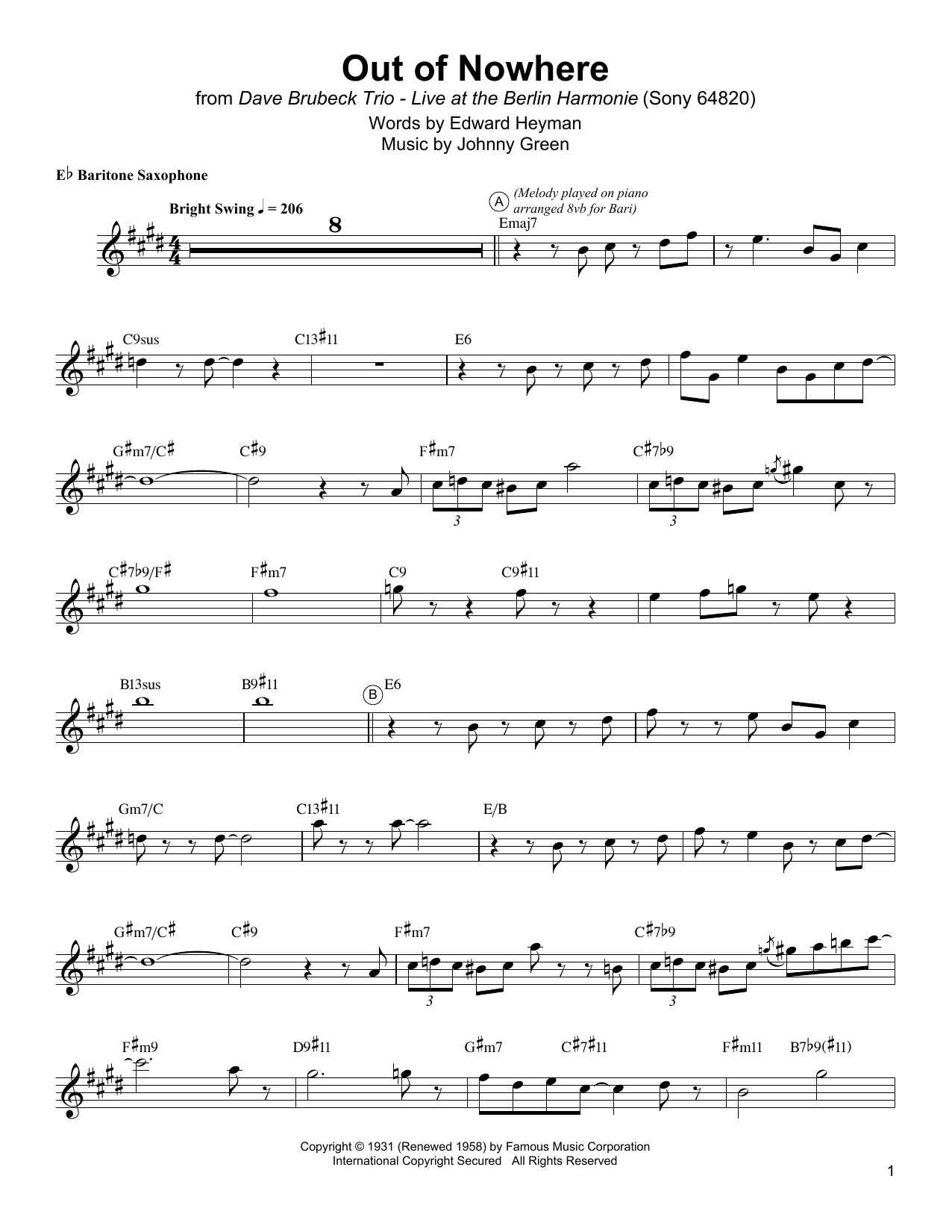 Download Gerry Mulligan 'Out Of Nowhere' Digital Sheet Music Notes & Chords and start playing in minutes