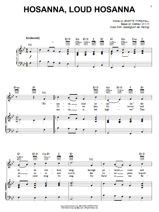 Download Gesangbuch der Herzogl 'Hosanna, Loud Hosanna' Digital Sheet Music Notes & Chords and start playing in minutes