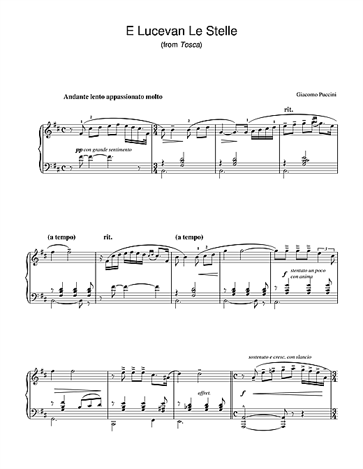 Download Giacomo Puccini 'E Lucevan Le Stelle (from Tosca)' Digital Sheet Music Notes & Chords and start playing in minutes