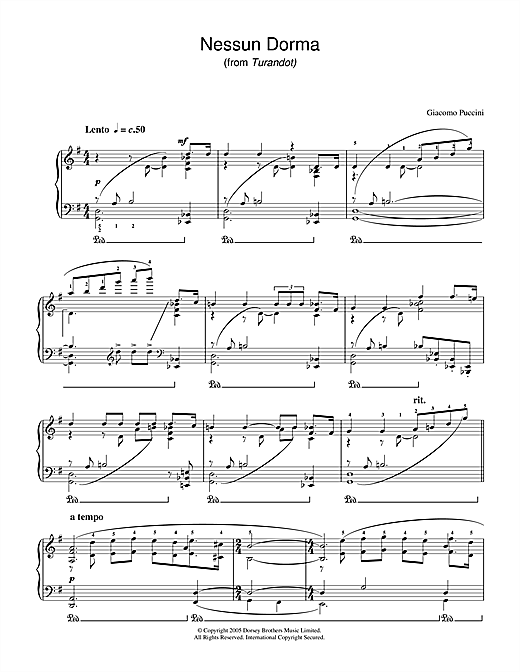Download Giacomo Puccini 'Nessun Dorma (from Turandot)' Digital Sheet Music Notes & Chords and start playing in minutes