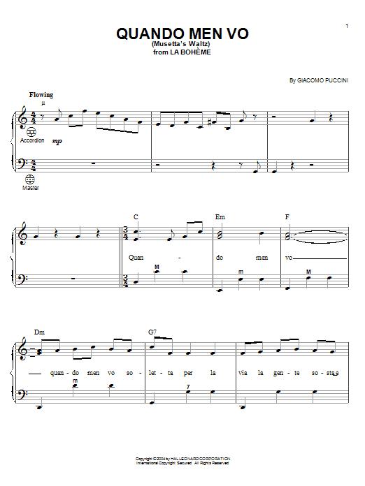 Giacomo Puccini Quando Men Vo (Mussetta's Waltz) sheet music notes and chords