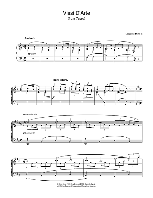 Download Giacomo Puccini 'Vissi D'Arte (from Tosca)' Digital Sheet Music Notes & Chords and start playing in minutes