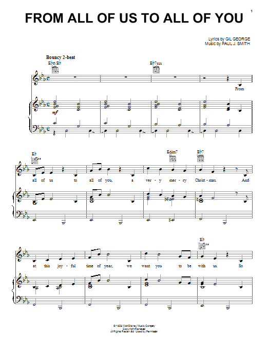 Gil George From All Of Us To All Of You sheet music preview music notes and score for Piano, Vocal & Guitar (Right-Hand Melody) including 3 page(s)