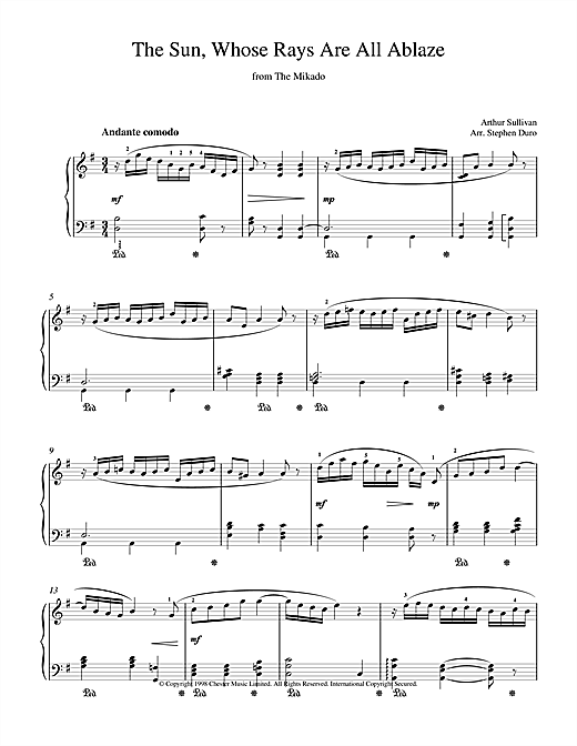 Arthur Seymour Sullivan The Sun, Whose Rays Are All Ablaze sheet music notes and chords
