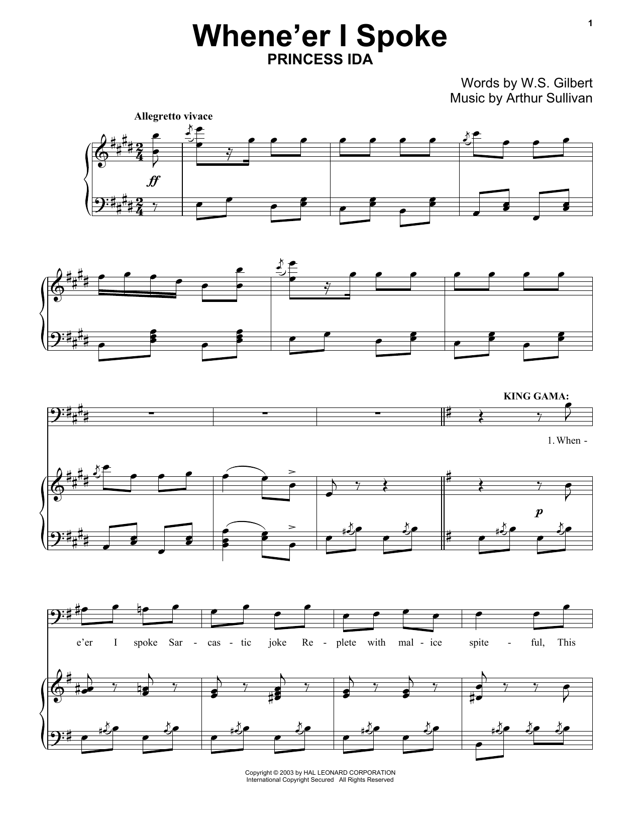 Download Gilbert & Sullivan 'When E'er I Spoke' Digital Sheet Music Notes & Chords and start playing in minutes