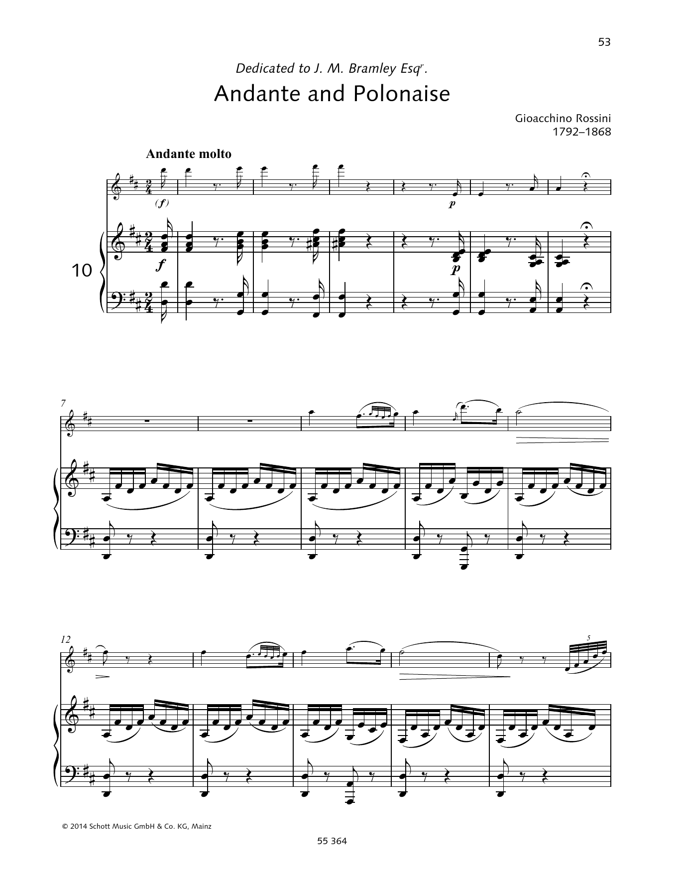 Gioacchino Rossini Andante and Polonaise sheet music preview music notes and score for Woodwind Solo including 8 page(s)