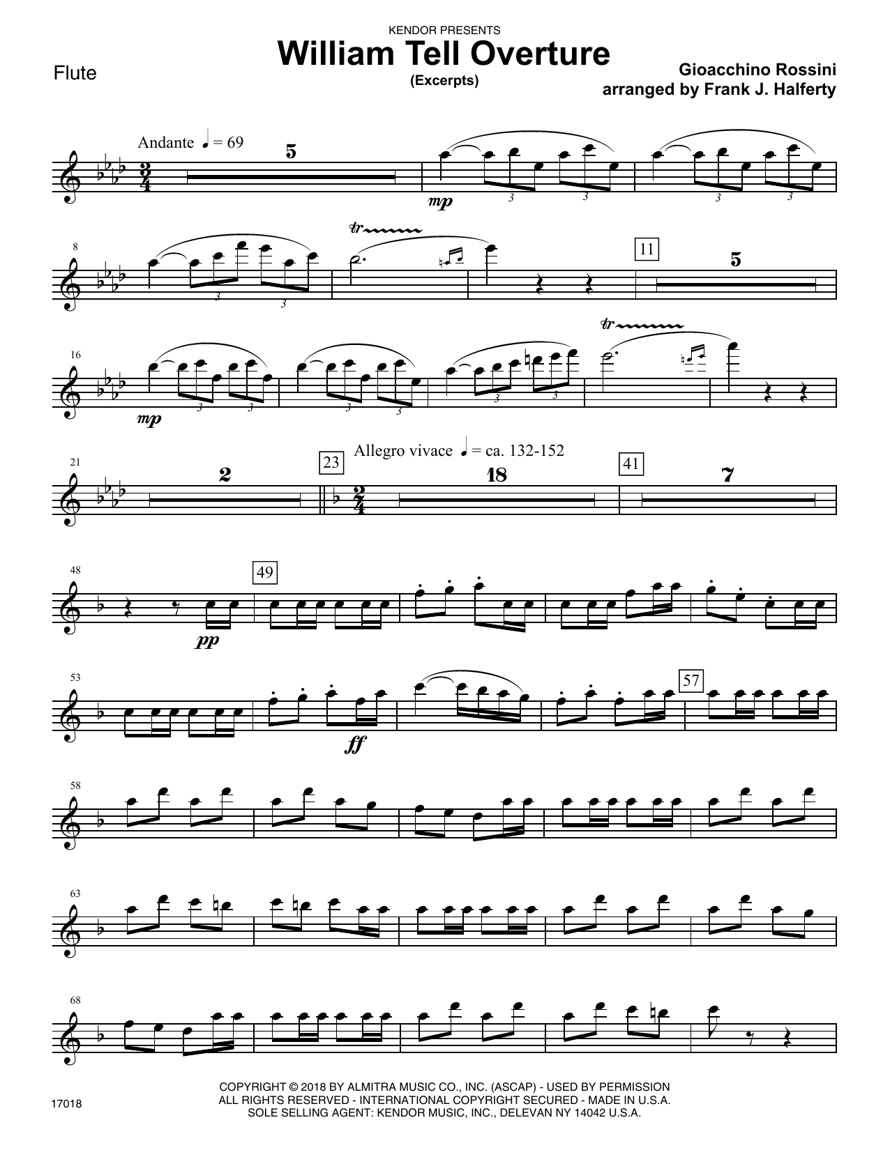 Gioacchino Rossini William Tell Overture (excerpts) (arr. Frank J. Halferty) - Flute sheet music preview music notes and score for Woodwind Ensemble including 4 page(s)
