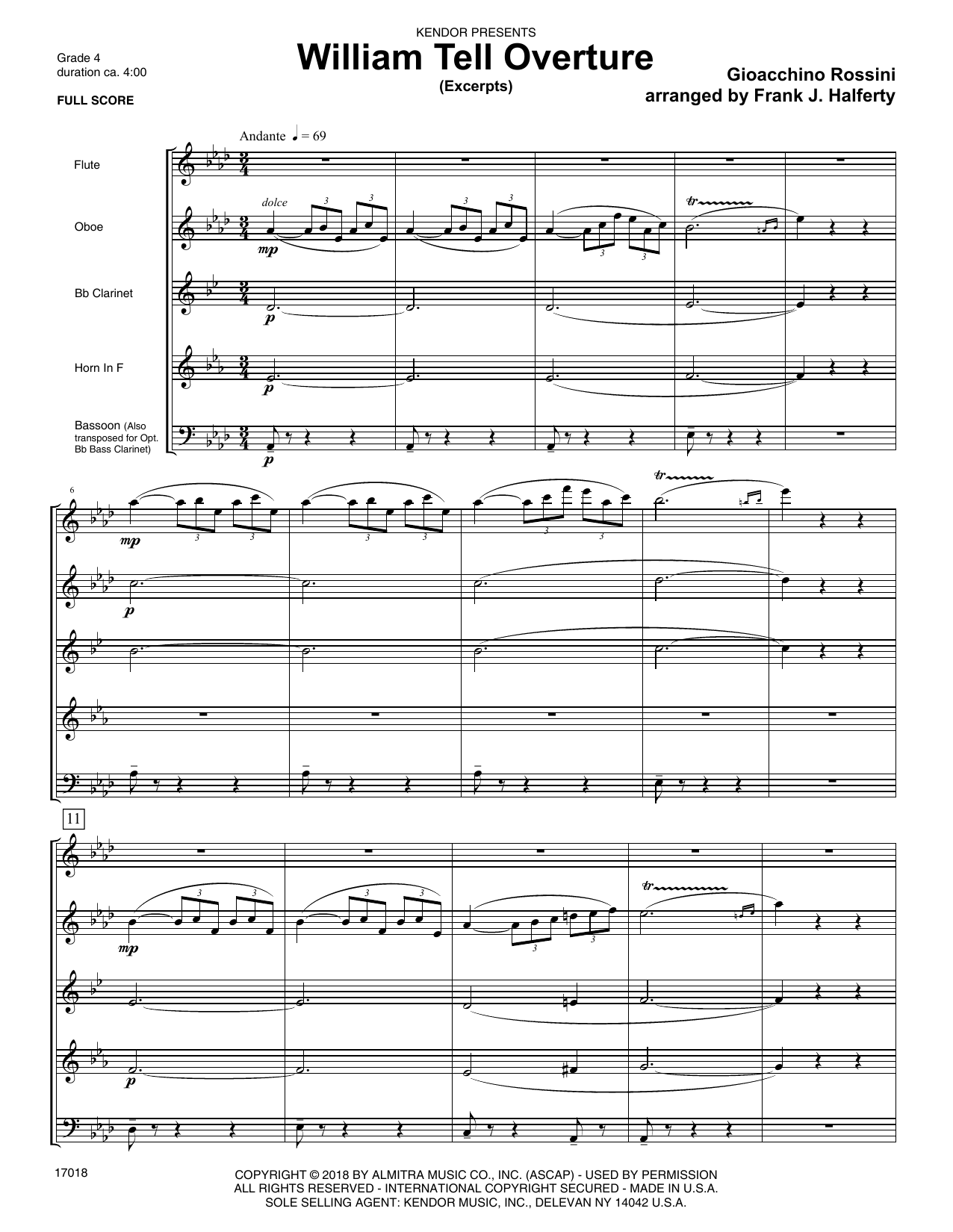Gioacchino Rossini William Tell Overture (excerpts) (arr. Frank J. Halferty) - Full Score sheet music preview music notes and score for Woodwind Ensemble including 15 page(s)