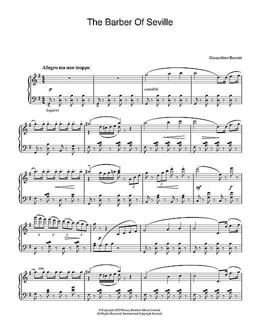 Gioachino Rossini The Barber Of Seville sheet music notes and chords