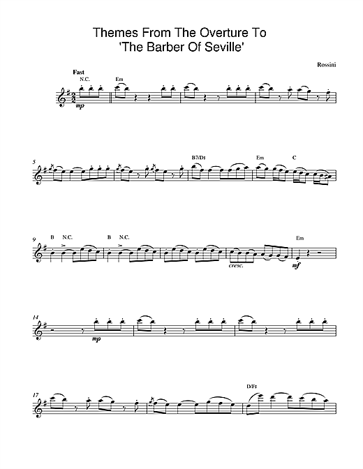 Gioachino Rossini The Barber Of Seville Overture sheet music preview music notes and score for Easy Piano including 2 page(s)