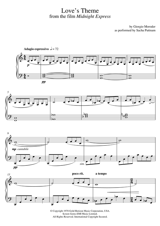 Download Giorgio Moroder 'Love's Theme (from Midnight Express) (as performed by Sacha Puttnam)' Digital Sheet Music Notes & Chords and start playing in minutes