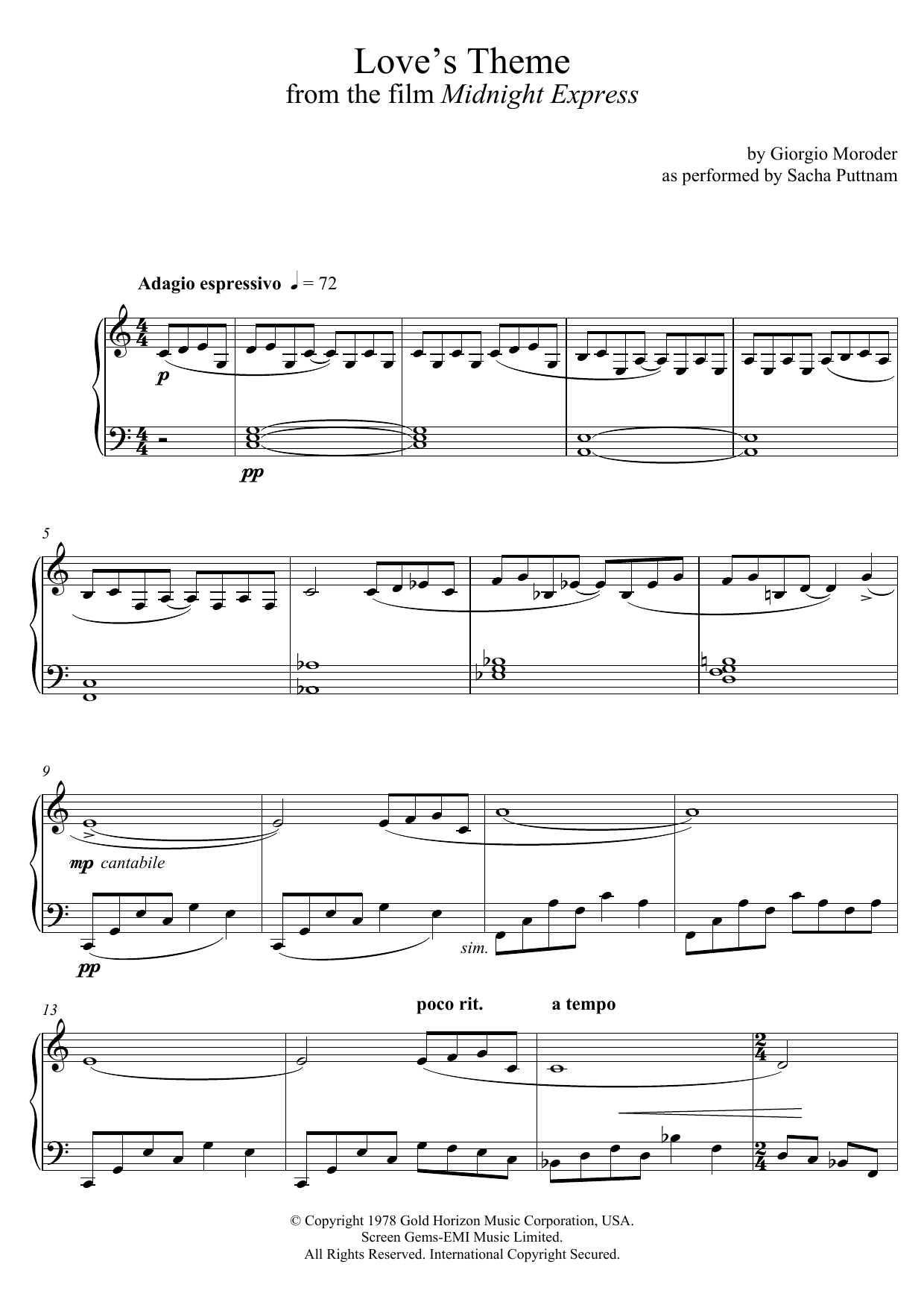 Giorgio Moroder Love's Theme (from Midnight Express) (as performed by Sacha Puttnam) sheet music preview music notes and score for Piano including 4 page(s)