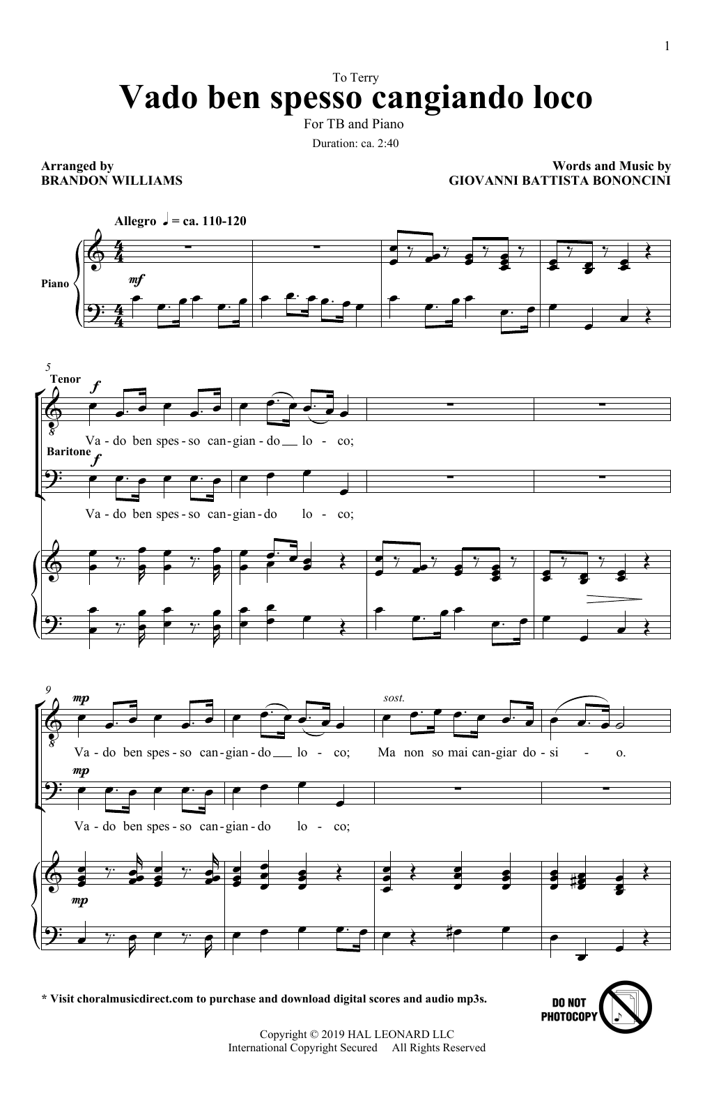 Download Giovanni Battista Bononcini 'Vado Ben Spesso Cangiando Loco (arr. Brandon Williams)' Digital Sheet Music Notes & Chords and start playing in minutes