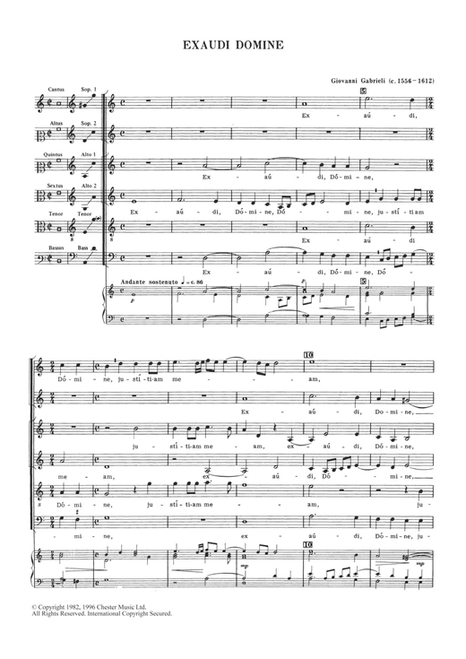 Download Giovanni Gabrieli 'Exaudi Domine' Digital Sheet Music Notes & Chords and start playing in minutes