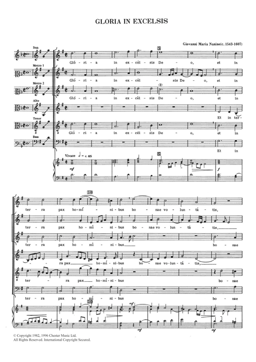 Download Giovanni Maria Nanino 'Gloria In Excelsis' Digital Sheet Music Notes & Chords and start playing in minutes