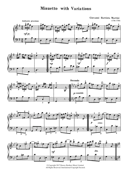 Download Giovanni Martini 'Minuetto With Variations' Digital Sheet Music Notes & Chords and start playing in minutes