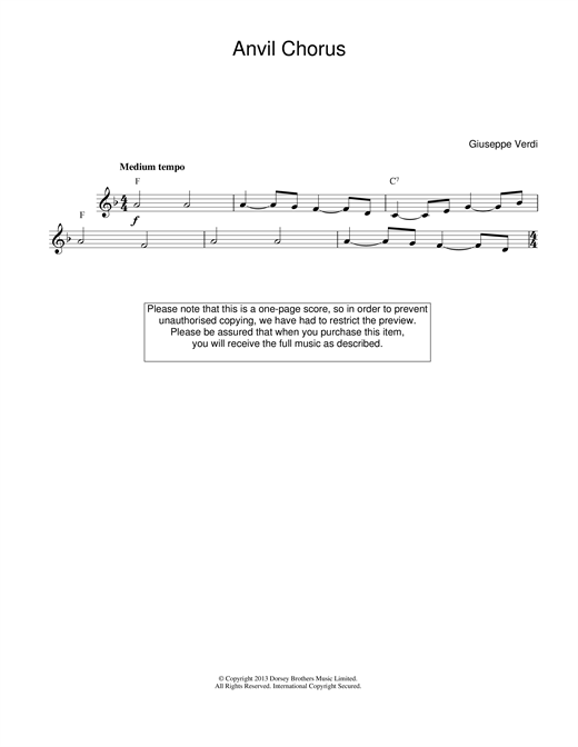 Download Giuseppe Verdi 'Anvil Chorus (from Il Trovatore)' Digital Sheet Music Notes & Chords and start playing in minutes