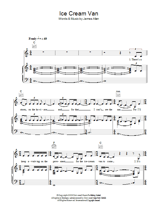 Glasvegas Ice Cream Van sheet music preview music notes and score for Piano, Vocal & Guitar (Right-Hand Melody) including 5 page(s)