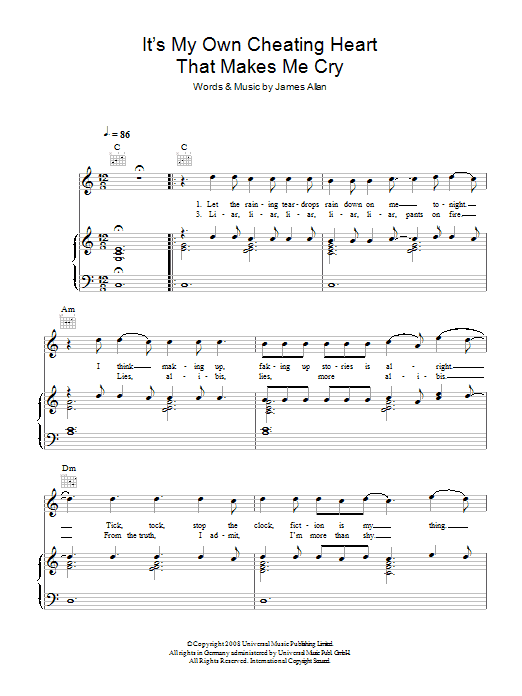 Glasvegas It's My Own Cheating Heart That Makes Me Cry sheet music preview music notes and score for Piano, Vocal & Guitar (Right-Hand Melody) including 6 page(s)