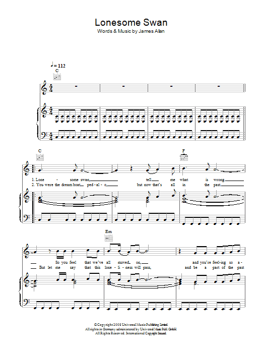 Glasvegas Lonesome Swan sheet music preview music notes and score for Piano, Vocal & Guitar (Right-Hand Melody) including 4 page(s)