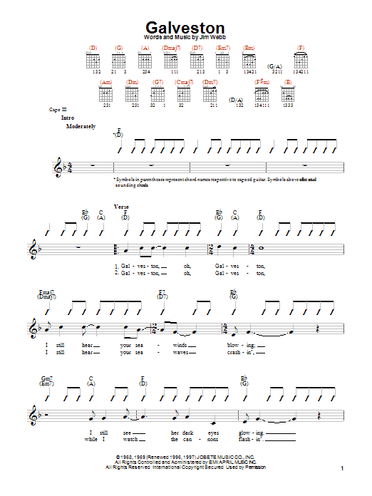 Glen Campbell Galveston sheet music preview music notes and score for Easy Guitar including 2 page(s)
