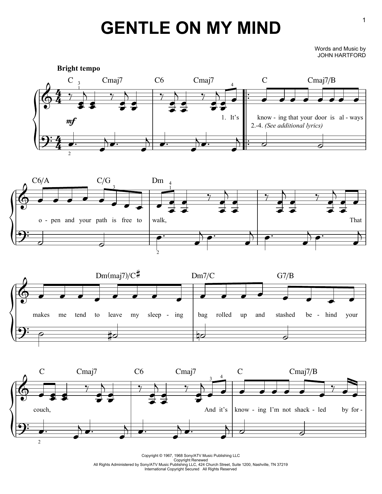 Glen Campbell Gentle On My Mind sheet music preview music notes and score for Piano, Vocal & Guitar (Right-Hand Melody) including 3 page(s)