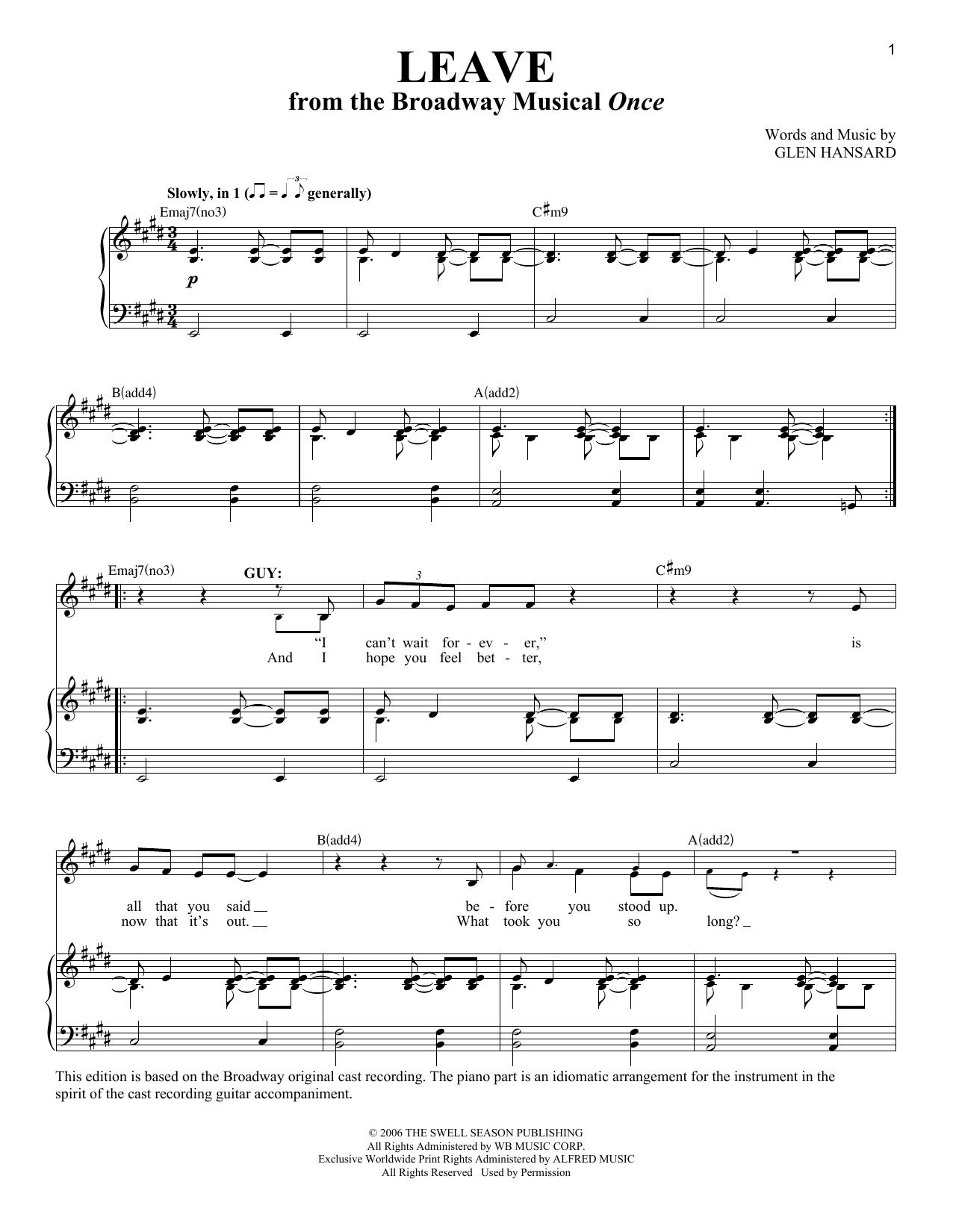 Download Glen Hansard 'Leave' Digital Sheet Music Notes & Chords and start playing in minutes