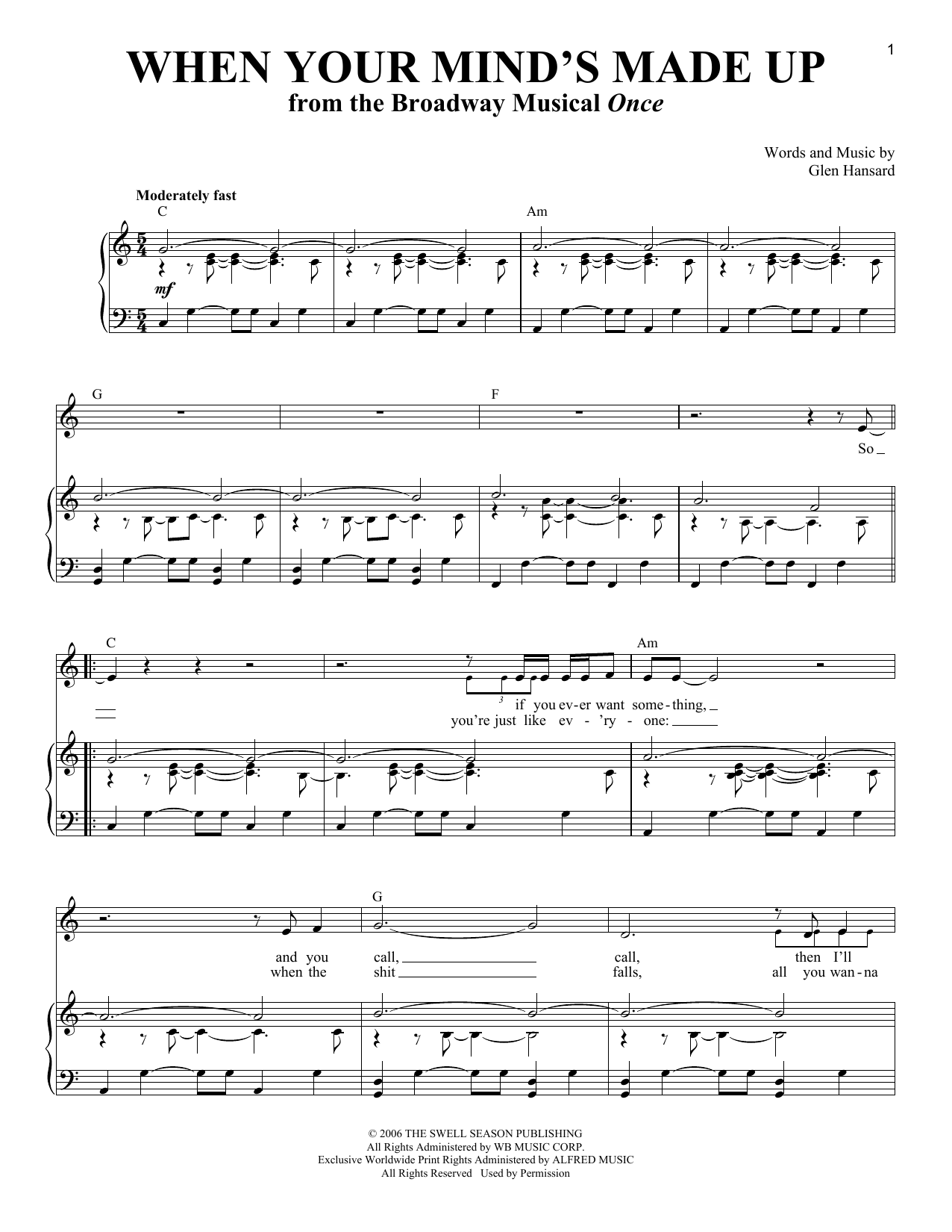 Download Glen Hansard 'When Your Mind's Made Up' Digital Sheet Music Notes & Chords and start playing in minutes