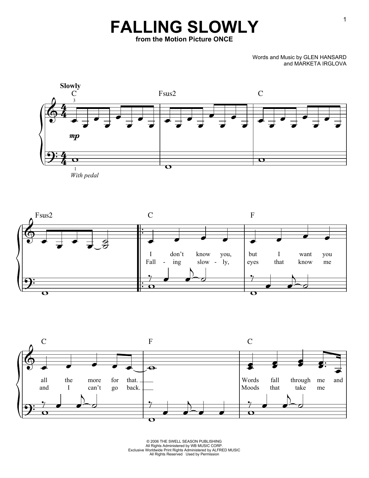The Swell Season Falling Slowly sheet music preview music notes and score for Piano & Vocal including 6 page(s)