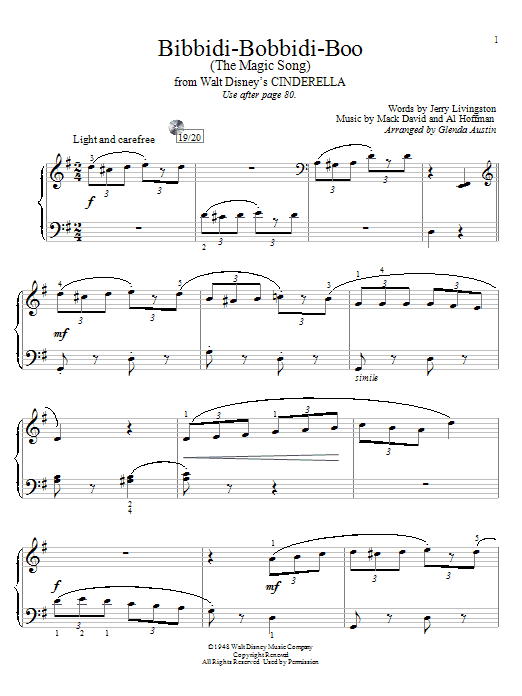 Louis Armstrong Bibbidi-Bobbidi-Boo (The Magic Song) sheet music preview music notes and score for Easy Piano including 3 page(s)