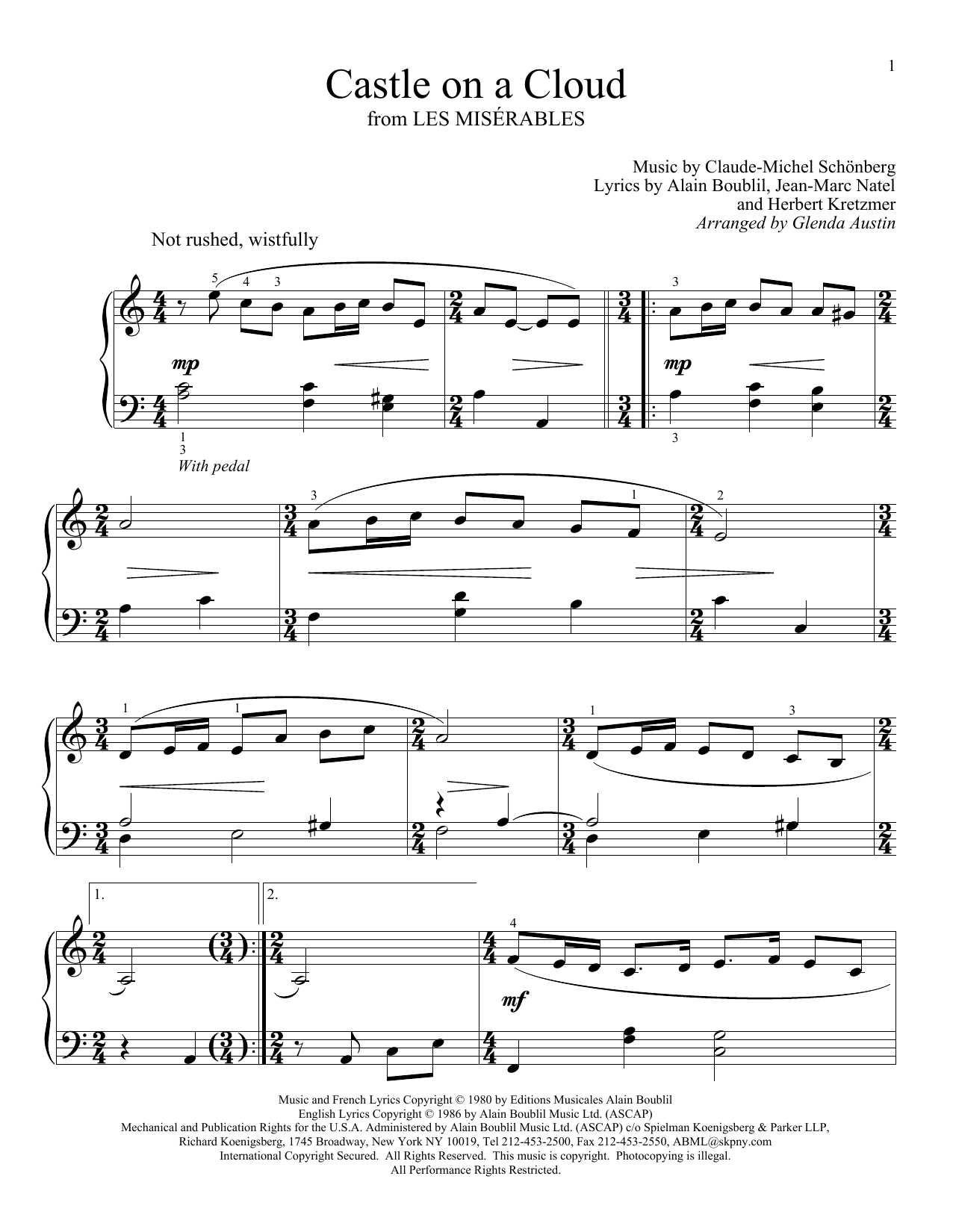 Glenda Austin Castle On A Cloud sheet music preview music notes and score for Easy Piano including 2 page(s)