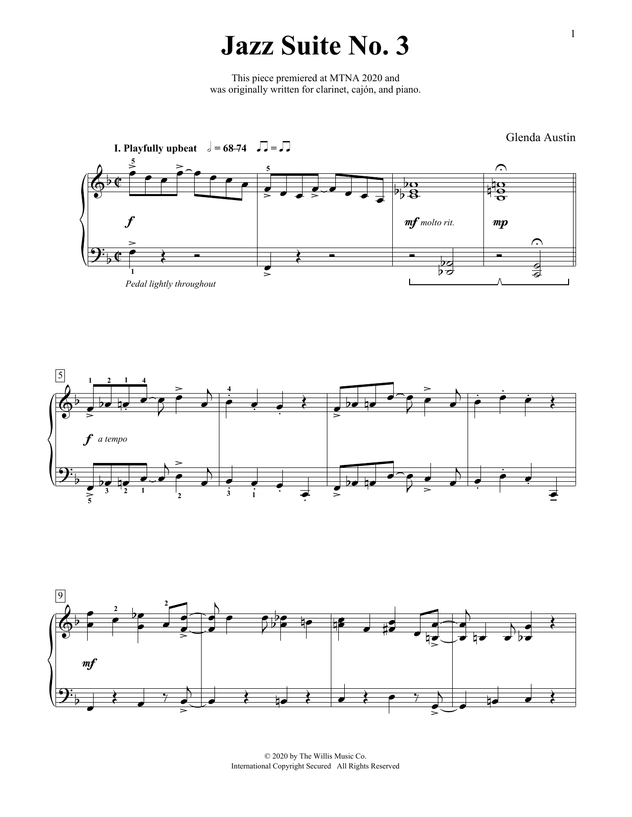 Download Glenda Austin 'Jazz Suite No. 3' Digital Sheet Music Notes & Chords and start playing in minutes