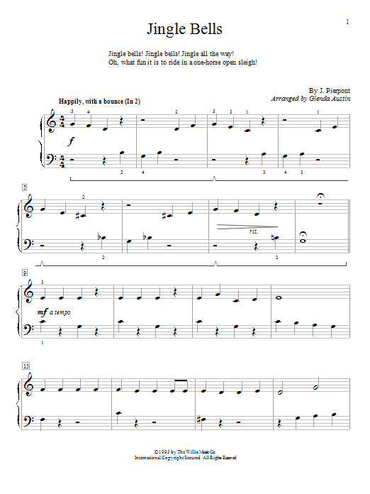 Glenda Austin Jingle Bells sheet music preview music notes and score for Piano including 2 page(s)