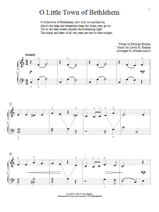 Glenda Austin O Little Town Of Bethlehem sheet music preview music notes and score for Piano including 2 page(s)