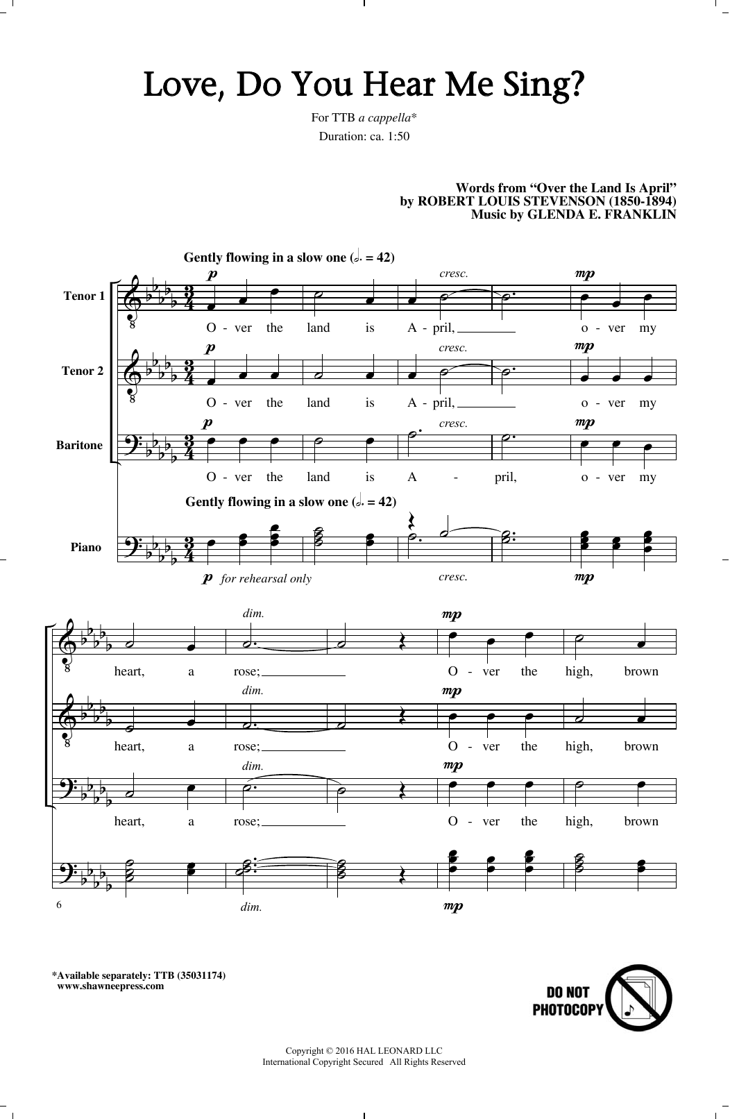 Download Glenda E. Franklin 'Love, Do You Hear Me Sing?' Digital Sheet Music Notes & Chords and start playing in minutes