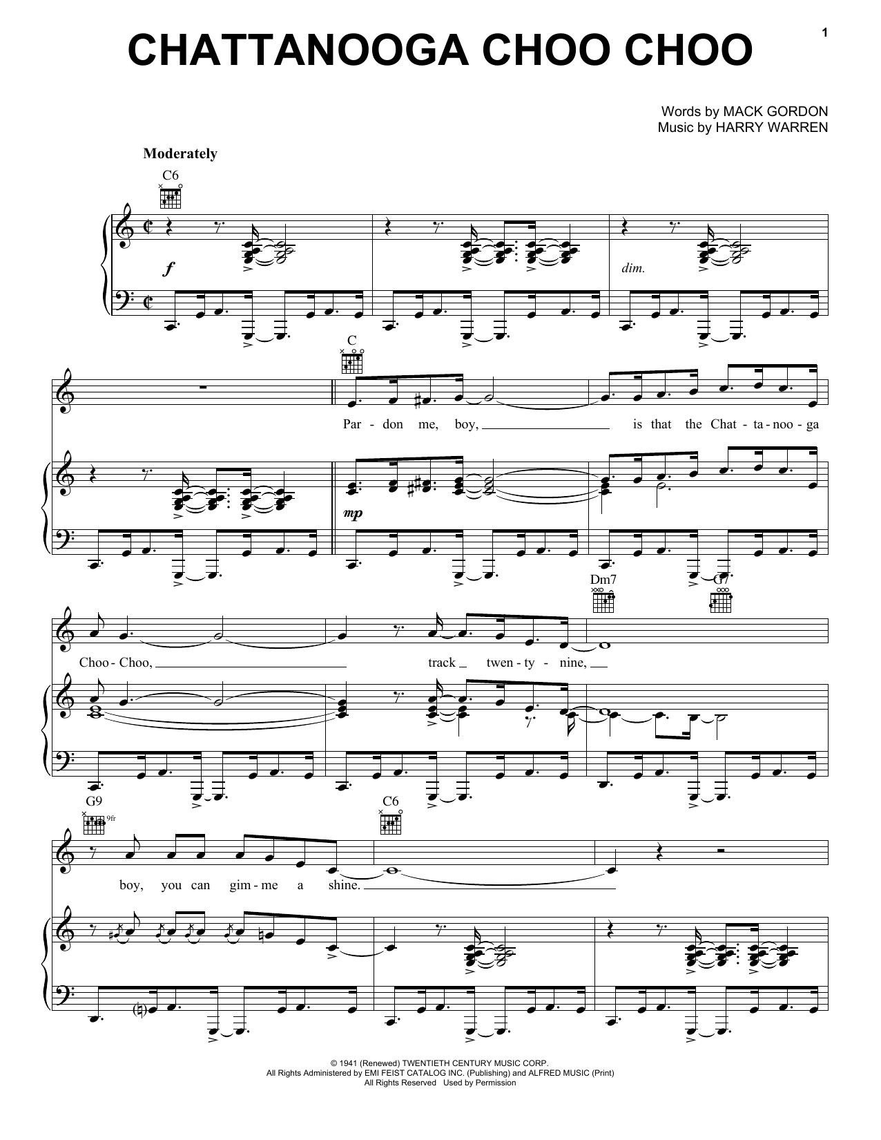 Glenn Miller Chattanooga Choo Choo sheet music notes and chords