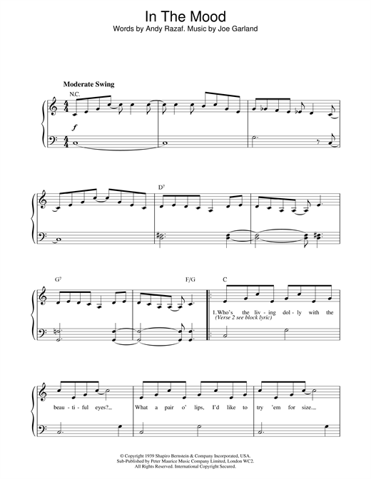 Glenn Miller In The Mood sheet music notes and chords