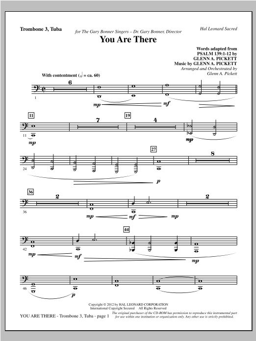 Glenn Pickett You Are There - Trombone 3/Tuba sheet music preview music notes and score for Choir Instrumental Pak including 3 page(s)