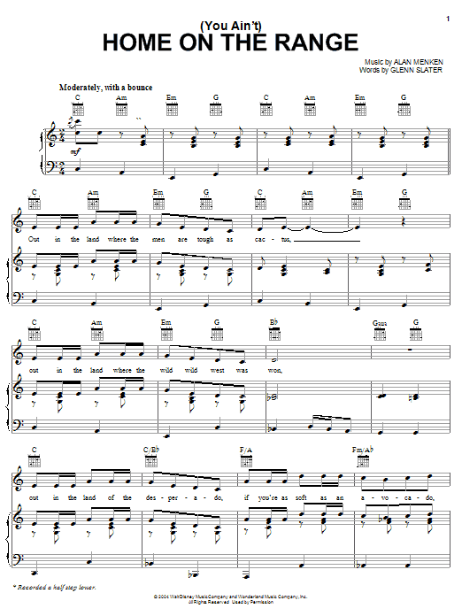 Glenn Slater (You Ain't) Home On The Range - Main Title sheet music preview music notes and score for Piano, Vocal & Guitar (Right-Hand Melody) including 3 page(s)
