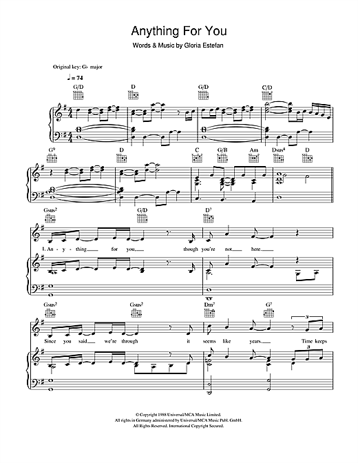 Download Gloria Estefan 'Anything For You' Digital Sheet Music Notes & Chords and start playing in minutes